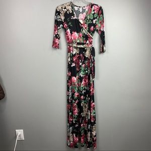 NWT PinkBlush Maternity Faux Wrap Knit Maxi Dress